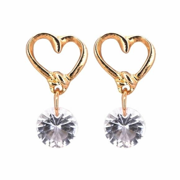 Gold  Zircon Earrings Heart